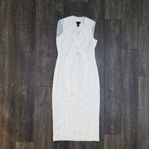Limited White Linen Button Up Dress - size 10
